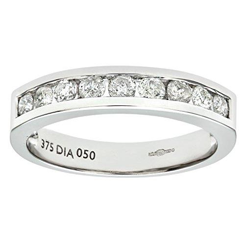 Naava 9 ct White Gold Diamond Channel Set eternity Women's Ring