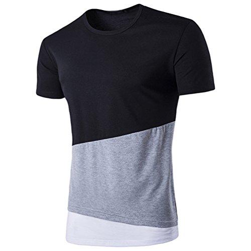 CHENGYANG Herren Sommer Unregelmäßig Stitching Lang T-shirt Kurzarm Tops Bluse Schwarz