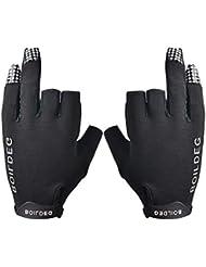 LIOOBO 1 par 3 Dedos Cortados Dedos Guantes de Pesca Protección Antideslizante Aparejos de Pesca para la Pesca con Mosca Pesca en el Hielo Caza Equitación Ciclismo Tamaño M (Negro)