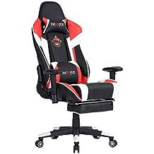 Ficmax ergonómica silla de escritorio de oficina reclinable gaming con masaje soporte lumbar y reposapiés ajustable, rojo / blanco
