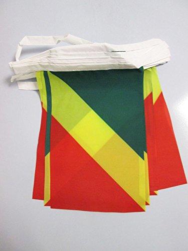 AZ FLAG Guirnalda 12 Metros 20 Banderas de la República del Congo 45x30cm - Bandera Congoleño 30 x 45 cm - BANDERINES