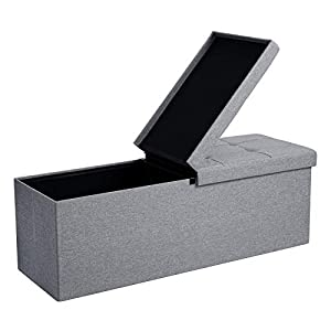 SONGMICS 110 x 38 x 38 cm Faltbarer Sitzhocker 3-Sitzer belastbar bis 300 kg Fußbank Schuhbank Tritthocker leinen, Hellgrau LSF71G