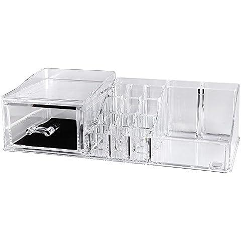 Songmics Caja organizadora con cajón Acrílico transparente para cosméticos neceser joyerías