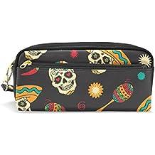 bennigiry payaso esqueleto luz lápiz bolsas caja de lápiz caso bolsa Monedero con cremallera para la escuela estudiante, pequeño viaje bolsa de cosméticos
