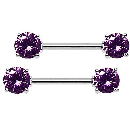 bodya Lot de 214g 5mm/7mm Oxyde de Zirconium Cuillère en barre droite en acier pour Téton Barbell Corps Piercing Bijoux 7mm purple