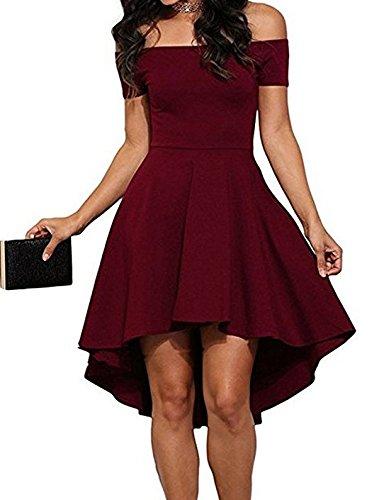 JOMOQ Damen Kleid Abendkleid Schulterfreies Cocktailkleid Jerseykleid Skaterkleid Knielang Elegant Festlich Asymmetrisches Partykleid (M, Rot)