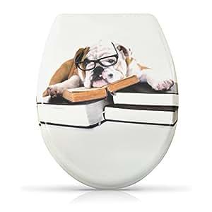 """Lunette de toilette avec fermeture amortie - Modèle """"Dr. Bulldog"""" - Couvercle de toilette avec motif et kit de montage"""