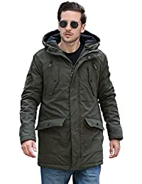 YsCube Mens Winter Thick Warm Parka Cappotti termici a media lunghezza con cappuccio