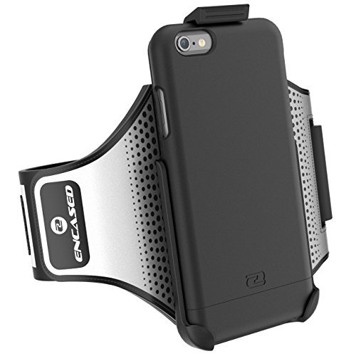"""iPhone 6 Plus 5.5"""" Armband & Sport Case (2 pc set, includes) Encased Click-N-Go Arm Band + Hybrid Cover (Metallic Gray) Smooth Black"""