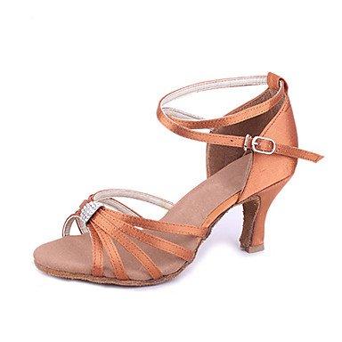 Silence @ Chaussures de danse pour femme en satin Latin/salle de bal du talon Noir/marron noir