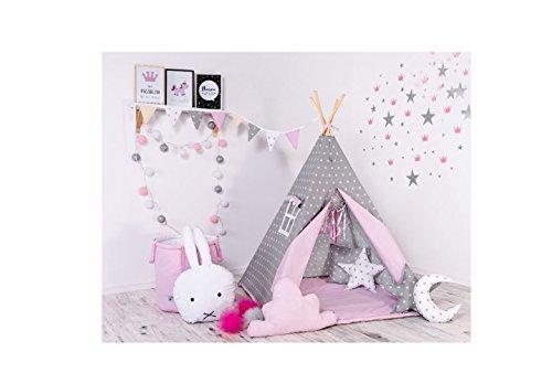 Indianerzelt Tipi Set für Kinder Spielzeug drinnen draußen Spielzelt Zelt mit Korb Tipi-Set Indianer Indianertipi (Tipi mit 8 Elementen, Grauer Stern)
