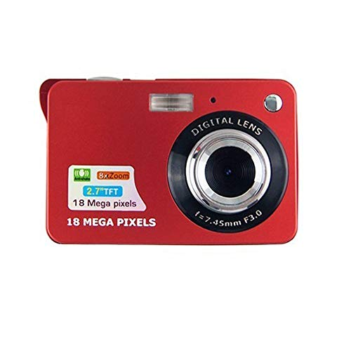 CamKing Digital Camera,2.7 Inch TFT LCD 18MP 8X HD Mini Digital Compact Camera with Zoom,Compact System Cameras for Backpacking/Photography/Holiday/Family/Friends/Students(Red)