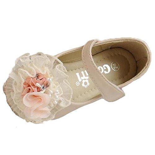 Ohmais Enfants Filles Chaussure cérémonie Ballerines à bride Fête Demoiselle d'honneur Mariage Escarpin plat Babies abricot velcro