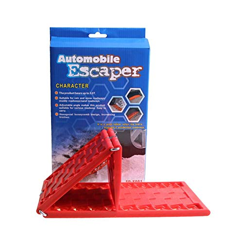 Hete-supply 2 Stück Auto-Reifen-Traktionsmatte/Unterlegmatte für Notfall, faltbar, Auto Escaper Buddy Anti-Rutsch-Reifengriff Hilfe Track gefangen Recovery Board für Off-Road-Schlamm, Sand, Schnee