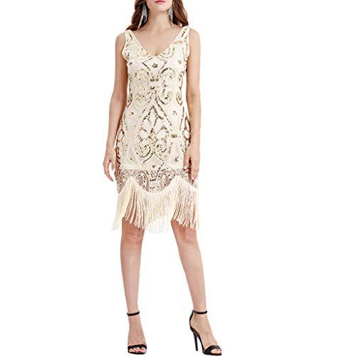 Hffan 1920s Damen Flapper Kleid mit Kurzem Ärmel -
