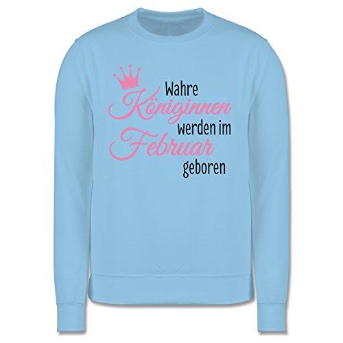 Geburtstag - Wahre Königinnen werden im Februar geboren - Herren Premium Pullover Hellblau