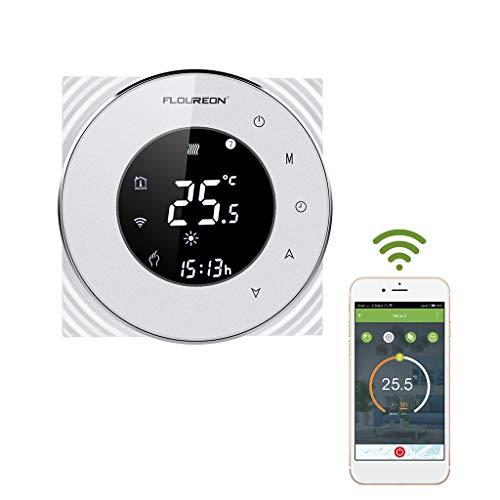 Thermostat WiFi Wandthermostat 16A Programmierbare Raumthermostat Runde LCD Touchscreen für Fußbodenheizung Wasserheizung Sprachsteuerung App Fernbedienung (Fußbodenheizung-kabel)