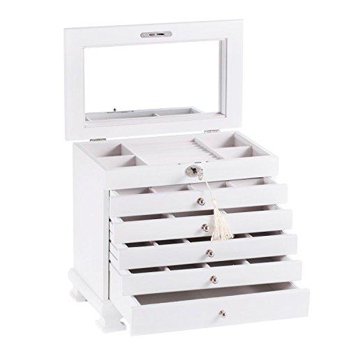 ROWLING Schmuckkasten Holz Schmuckkoffer schmuckschrank mit 5 Schubladen Schmuckkästchen Schatulle MG0160 (weiß)