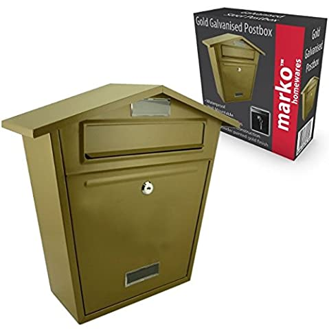 Lockable Outdoor Gold Wall Mounted Postbox Letterbox for the Home …