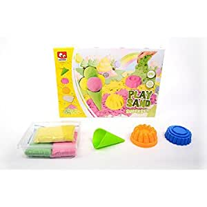 Play Sand Set for Kids - Build Yellow, Green & Pink Coloured Kinetic Magic Sandbox Kit with Moulds & Tray - 1lb Super Box Playset