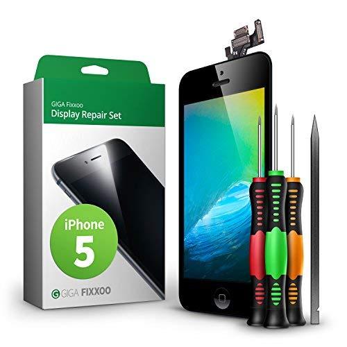 Iphone 5 Touchscreen (GIGA Fixxoo Display Set kompatibel mit iPhone 5, Reparaturset Komplett Schwarz, Ersatz Bildschirm, Retina LCD Glas mit Touchscreen, inkl. integrierte Frontkamera & Werkzeug)