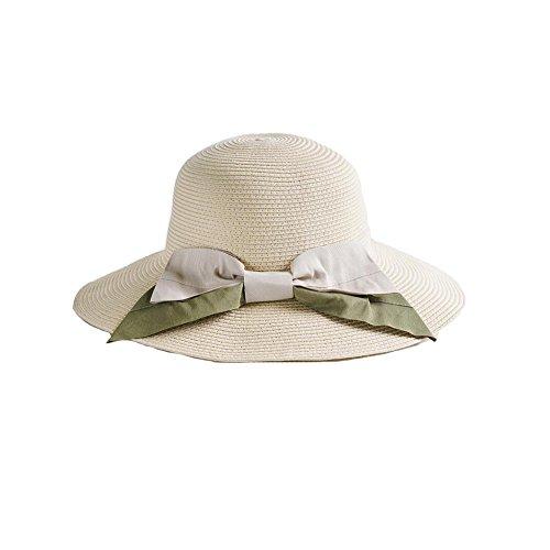 Yxiny Soleil Chapeaux Ly-73 Mode Noeud Papillon d'été Visière Chapeau Chapeau de Soleil Chapeau de Paille Plage Chapeau de pêcheur Chapeau Vacances Crème Solaire Respirant Beige