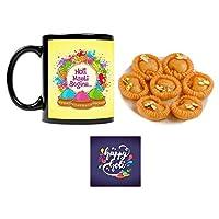 """YaYa Cafeâ""""¢ Holi Sweets Gift Combo Holi Masti Begins Mug, Coaster, Chandrakala - 500 gm"""