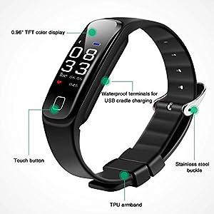 Pulsera Actividad con Pantalla Color y Correa Recambia, AGPTEK Pulsera Reloj Inteligente Impermeable con Podómetro, Monitor Ritmo Cardíaco Sueño Sedentarios GPS para Hombre Mujer Niños, Negro