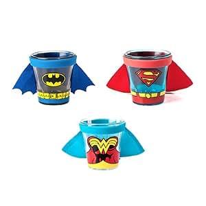 Superhero goulots-verres à Shot-Lot de 3–Batman, Superman et Wonder Woman