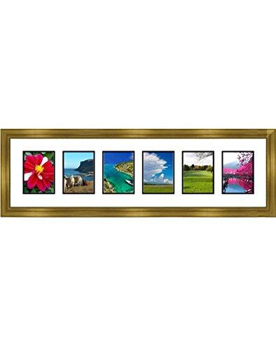 Frames By Mail multimat-58747-434B Sechs quadratisch Öffnung Collage Rahmen für 8,9x 12,7cm Foto, Gold