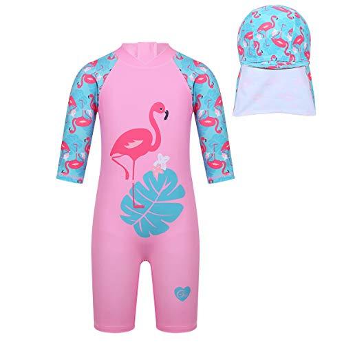 dPois Mädchen Einteiler Badeanzug mit Badekappe Schwimmanzug mit Fisch/Flamingo Muster Bademode Set Kinder Badebekleidung Swimsuit UV Schutz Neoprenanzug Rosa 98-104/3-4Jahre