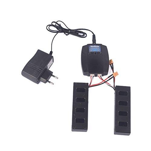 Preisvergleich Produktbild YouCute 2 Stück 7.4V 1800mAh offiziellen Akku und 1to2 Ladegerät für Bugs 3 mjx B3 RC quadcopter drone Ersatzteile (2PCS Batterien + Aufladeeinheit)