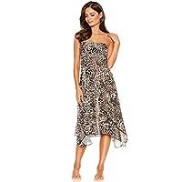 M&Co Ladies Swimwear Animal Print Strapless Two in One Beach Dress Latte Brown L/XL