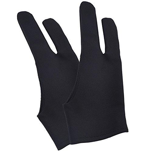 Tablet Handschuh Künstler Antifouling Zeichnung Handschuh für Tablette, Auflage und Kunst Schaffung, Schwarz, 2 Stücke (Anti-handschuh)