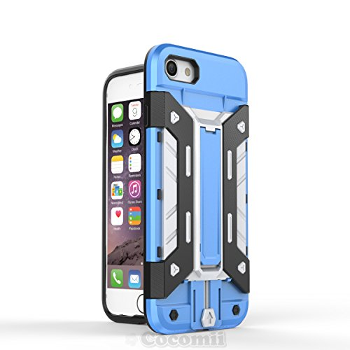 iPhone 8 / iPhone 7 Coque, Cocomii Transformer Armor NEW [Heavy Duty] Premium Built-in Multi Card Holder Kickstand Shockproof Hard Bumper Shell [Military Defender] Full Body Dual Layer Rugged Cover Ca Blue/Silver