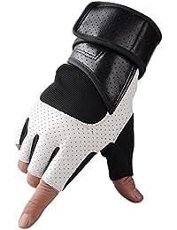 Demarkt 1 Paire Gants Sport Chaude Mitten Tactile d'hiver Gloves Running Coupe-vent en vélo Gym Workout pour protéger Homme et Femme poignet Blanc