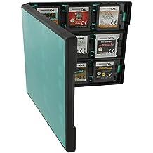 Caja de almacenaje Assecure 18en 1de estilo folio sistema de almacenaje para cartuchos de juego de Nintendo New 3DS XL, New 3DS, 3DS XL, 3DS, 2DS, DSi XL, DSi, DS Lite, DS–turquesa y negro