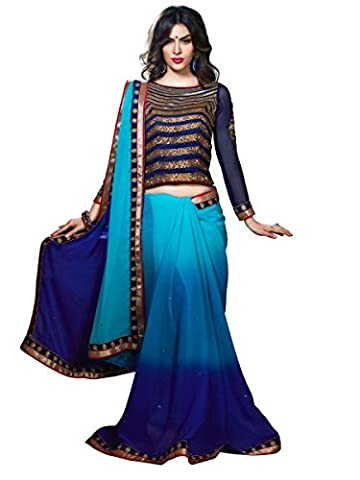 Stylee Lifestyle Blue Chiffon Embroidered Saree