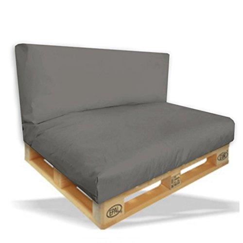 Palettenkissen Sitzpolster 2er Set - 120x80x15cm + Rückenkissen 120x40x10cm Farbe Anthrazit - In &...