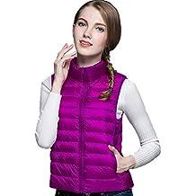 TT Global Mujer Ultra-Light Elegante Chaleco de Pluma Sin Cuello Plegable  Down Chaquetas Otoño 4482342a5516