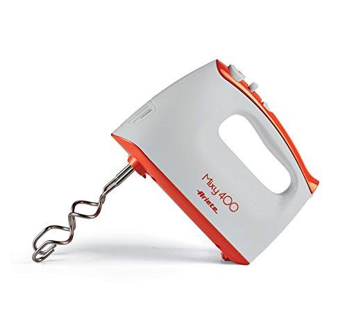 Ariete Mixy Elektrisches Handrührgerät, 2Set von Schneebesen für Montage und Knethaken, 5Geschwindigkeiten Turbo, 400W, Kunststoff, weiß/orange