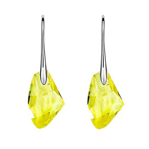 Pendientes amarillos de boda imitación diamantes para mujer