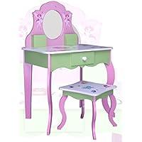 Preisvergleich für habeig SCHMINKTISCH #426 Kinderschminktisch Kindertisch Frisierkommode Prinzessin Spiegel Frisiertisch Hocker