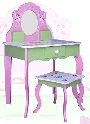 SCHMINKTISCH #426 Kinderschminktisch Kindertisch Frisierkommode Prinzessin Spiegel Frisiertisch Hocker habeig