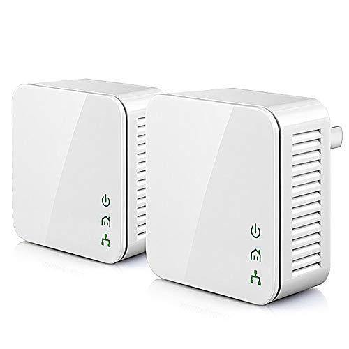 ZXCV 1Pair Mini 200Mbps Powerline-Ethernet-Adapter, PLC-Adapter, kompatibel mit Wireless-WiFi-Router, IPTV,White,1Pair