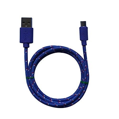 1m MicroUSB a USB de alta velocidad | Cable cargador y de datos | Cable de carga rápida con sección especialmente grande de 4,4 mm | Contactos recubiertos de oro 24 k | para Android, Samsung, HTC, Motorola, Nokia, LG, HP, Sony, Blackberry y más