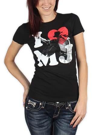 Michael Jackson - I Heart Mj Girls S/S T-Shirt In Black, X-Large, Black