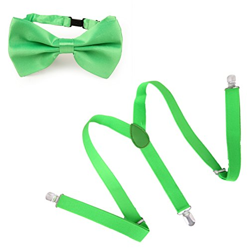 HDE Men's Pre-Tied Adjustable Bowtie Y-Back Clip Suspenders for Wedding Prom Tux (Bright Green)