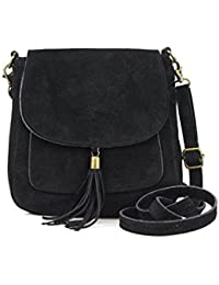 e261ae517fd4c Made in Italy Damen Leder Tasche Messenger Bag Henkeltasche Wildleder  Handtasche Umhängetasche Ledertasche Schultertasche…