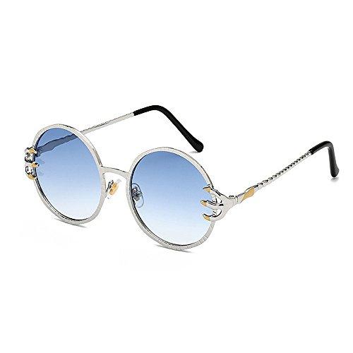 Sonnenbrillen Mode Damen Sonnenbrille Punk Stil Wölfe Klaue Dekoration Retro Runde für coole Metallrahmen Sonnenbrille Unisex UV Schutz PC Objektiv für das Fahren von Reisen ( Farbe : Blau )